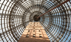 melbourne-8967-ps-w (pw-pix) Tags: shottower coopsshottower disused restored museum shop retail brick steel truss trusses cone magiccone insidethemagiccone glass conical lookingup cliche massivecliche wevebeenherebefore hardtoresist sillyreally sillyme circles circular frame framework interior shoppingcentre melbournecentral cbd melbourne victoria australia ex