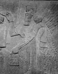 Assyrian Galleries-British Museum (Chris Draper) Tags: beard wings bagmonochrome blackandwhite assyria assyrian sculpture reliefs museum archaeology britishmuseum carved carving carvedpanel stone mythical mythology culture ancientculture