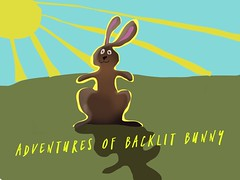 Adventures of Backlit Bunny (Vinally2010) Tags: bookcover alisonlait painting original rabbit wordswag sunray ipad sketchclubapp funny humor childrensbook shadow backlit bunny