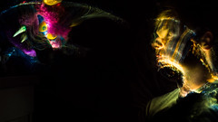 In the Dark (Graveyardworker) Tags: art blackfiberoptic canada colours dark face faceoff fiber fiberoptic light lightart lightpainting longexposure lpwalliance man monster mypetmonster night nightlights nightscape paintingwithlight singleexposure trippy