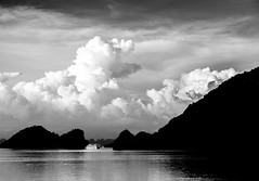 Ominous (ajecaldwell11) Tags: caldwell blackandwhite halongbay tide bw sunset ankh southeastasia water vietnam sky thunderstorm boat xe2 fujifilm clouds