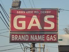 Brand Name Gas (yooperann) Tags: sign red white brand name gas power lines