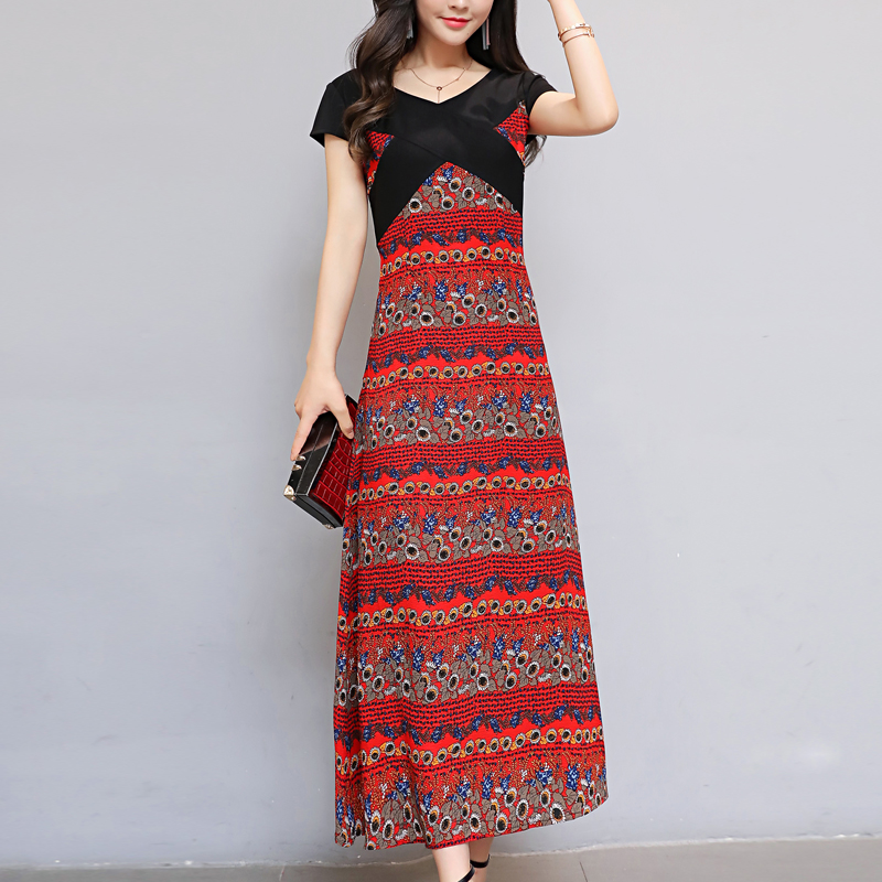 2017 Summer Dress Chiffon Skirt folk style retro slim slim skirt floral dress temperament