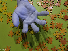 Pieces and Hand (Thad Zajdowicz) Tags: zajdowicz santabarbara california availablelight lightroom leica art indoor inside travel usa hand puzzle pieces quote store color green red orange concept fingers thumb palm museum santabarbaramuseumofart light shadow