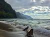 Na'Pali Driftwood (Garden State Hiker) Tags: napalicoast kauai sand landscape coast driftwood nature keebeach mountains sky haenastatepark pacificocean hawaii beach clouds