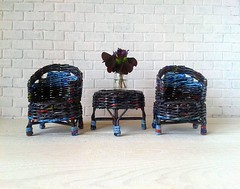 Paper wicker doll furniture set for fabric or rescued doll.
