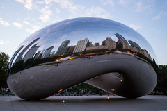 Chicago: Reflected in the Cloud Gate (romanboed) Tags: leica m 240 summicron 28 usa illinois chicago downtown city center michigan avenue architecture travel early morning street sculpture cloudgate cloud gate millenium park reflection skyline cityscape bean
