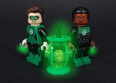 Green Lantern Bros (MrKjito) Tags: lego super hero minifig green lantern hal jordan john stewart power battery symbol hope glow custom