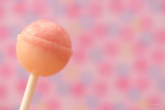 Sweet dream... (Maria Godfrida) Tags: closeup macro pink strawberry candy sweets lolli lollipop tamron nikon pastel softcolours lolly lollypop blur bokeh food 7dwf crazytuesdaytheme confectionary his certainly this brought big