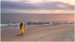 """Getting the Sunset Shot"" - St. George Island, FL (TravelsWithDan) Tags: sunset beach ocean gulfofmexico florida stgeorgeisland floridapanhandle granddaughter kneeling candid theotherphotographer"
