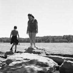 Sam and Nikk (Matt0513) Tags: cousins long point state park new york bemus chautauqua lake rocks peninsula rolleicord vb tlr 6x6 medium format film fujifilm neopan 100 acros