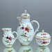 Nymphenburg, Dejeuner, tete-a-tete, Kaffeeservice, Kaffeegeschirr, Tablett, Kaffeekanne, Kaffeetasse, Indianische Blumen, Dekor 1557, Form 920