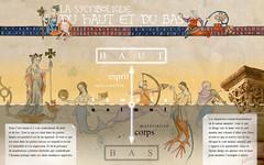 06a1-la symbolique du haut et du bas (olivierblaz) Tags: symbolisme sculpture romane art roman auvergne péchés capitaux vices vertus croyant église abbatiale cloître chapiteau chapiteaux colonne pierre monstres chimères