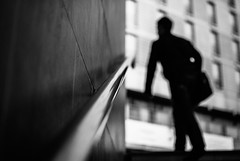 Midlife Crisis 18.365 (ewitsoe) Tags: monochrome blackandwhite bw bnw ewitsoe nikond80 35mm street urban citylife life workingman man silhouette stairs transit pedestrian understand resist shadow 365 18 polska europe