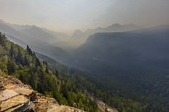 Smokey Valley Below, Going-To-The-Sun Road, Glacier National Park, Montana (rebeccalatsonphotography) Tags: forestfire spraguefire smoke haze valley gtts road goingtothesun theloop mt montana np glacier nationalpark glaciernationalpark rebeccalatsonphotography canon 5dsr westglacier