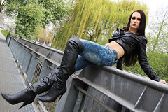 Alexandra 56 (The Booted Cat) Tags: sexy brunette long hair girl model leather tight blue jeans denim jacket overkneeboots overknee boots heels highheels