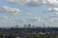 London City Skyline from Ally Pally [265/365 2017] (_ _skdotcom_ _) Tags: london alexandra palace city skyline landscape scenery cloud building walkietalkie shard gherkin trees urban houses woodgreen cheesegrater st pauls cathedral aeroplane plane sky clouds allypally sony rx100 365 lcdsoundsystem