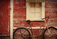 Old and In The Way (EdBob) Tags: bicycle red vintage old oldtime oldtimelook classic window house playhouse peeling paint texture textured lummiisland washington washingtonstate westernwashington sanjuanislands wheels transportation seat handlebarrs edmundlowephotography edmundlowe allmyphotographsare©copyrightedandallrightsreservednoneofthesephotosmaybereproducedandorusedinanyformofpublicationprintortheinternetwithoutmywrittenpermission nopeople colorful color whatcomcounty wwwedmundlowephotocom
