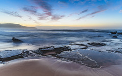 Dawn Seascape (Merrillie) Tags: daybreak shoreline sand landscape killcarebeach australia surf coastal clouds newsouthwales waves centralcoast nsw water beach ocean longexposure rocks sea photography waterscape outdoors seascape dawn coast nature sky