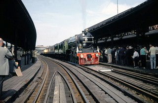 London & North Eastern Railway steam locomotive A3 class Pacific # 4472 (Flying Scotsman) with its train is seen while on the U.S. tour at Hartford Union Station, Hartford, Connecticut, October 13, 1969