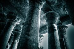 The Pillars of Osiris. (icarium82) Tags: architecture temple egypt egyptian hieroglyphs osiris isis pillars bw bnw blackandwhite travel hdr history canon eos 7d africa tinted autofocus