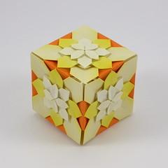 Hydrangea Cube (Michał Kosmulski) Tags: origami tessellation modular unit hydrangea flower fractal shuzofujimoto michałkosmulski kamipaper