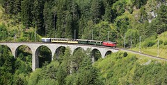 RhB Ge6/6 locomotive_Landwasser Viaduct_270817_01 (DS 90008) Tags: rhb ge66 locomotive locohauled railway engineering 702 train opencarriages wagons panoramic mountains track bridge viaduct metregauge rollingstock switzerland swissrailways swissalps filisur landwasserviaduct wildlife trees woodland