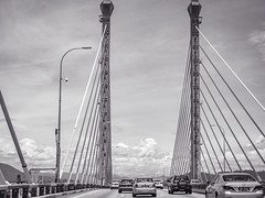Mid span on the Penang Bridge (Stratman² - (Joey and I are both ill )) Tags: canonphotography powershotg1x monochrome blackwhite bridge architecture penangbridge penang flickrelite