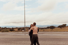 Embrace at a spanish parking lot (velvet shell) Tags: 35mm film photography analogue canon t50 kodak color boy girl friends spain sky db