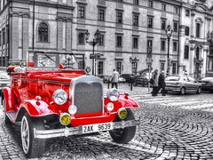RED CAR (mmalinov116) Tags: red car city capital prague praha czechrepublic old street кола чехия прага europe eu bw monochrome ngc