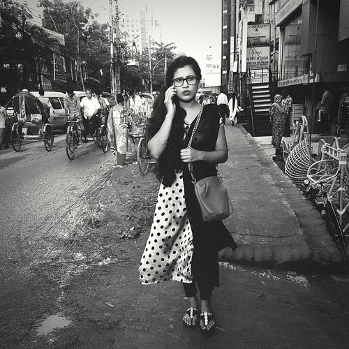 Girl on the phone. Dhaka. Bangladesh.