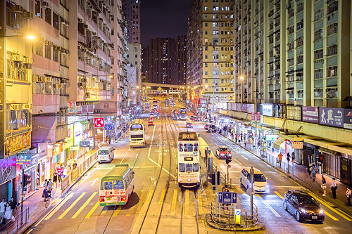 Night at Shau Kei Wan Road, Hong Kong