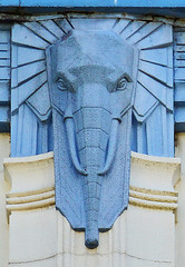 Art Deco elephant - detail (cmw_1965) Tags: swansea high street art deco elephant elephants coral burtons store shop