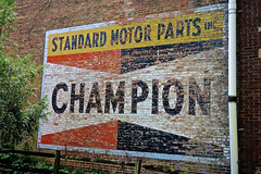 Champion Ghost Sign, Brookville, IN (Robby Virus) Tags: brookville indiana in ghost sign signage ad advertisement champion sparks club standard motor parts inc faded forgotten brick wall
