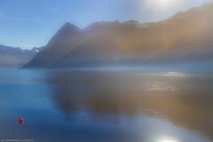 red ball (in explore) (H.Roebke) Tags: norwegen landscape meer mirror berge hurtigruten 2013 norway canon7dmki blue fog blau canon24105mmf40lisusm nebel seascape landschaft spiegelung lightroom mountain