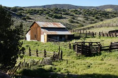 Are You Trying To Get Away (nedlugr) Tags: california ca usa sanluisobispocounty carrizoplain carrizoplainnationalmonument barn fence fences corral ruraldecay ruralwest rustic weathered weatheredwood shadows shade green spring
