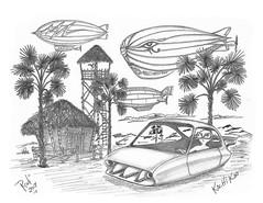 Kochi Koo (rod1691) Tags: bw scifi grey concept custom car retro space hotrod drawing pencil h2 hb original story fantasy funny tale automotive art illistration greyscale moonpies sketch