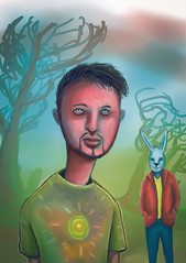 Psychedelic boy and his rabbit friend get lost in the acid forest (ruidanielbarrossss) Tags: psychedelic boy his rabbit friend get lost acid forest illustration man woods art digital humanoid mutant hipster crazy face drugs