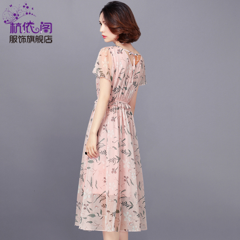 Girls dress long 2017 summer new Korean temperament women's short sleeved Chiffon floral skirt in summer tide