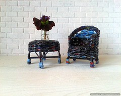 Paper wicker doll furniture set for fabric or rescued doll. (Wicker Handmade) Tags: sale dollhouse wickerhandmade wicker miniature miniaturetable miniaturechair miniaturefurniture