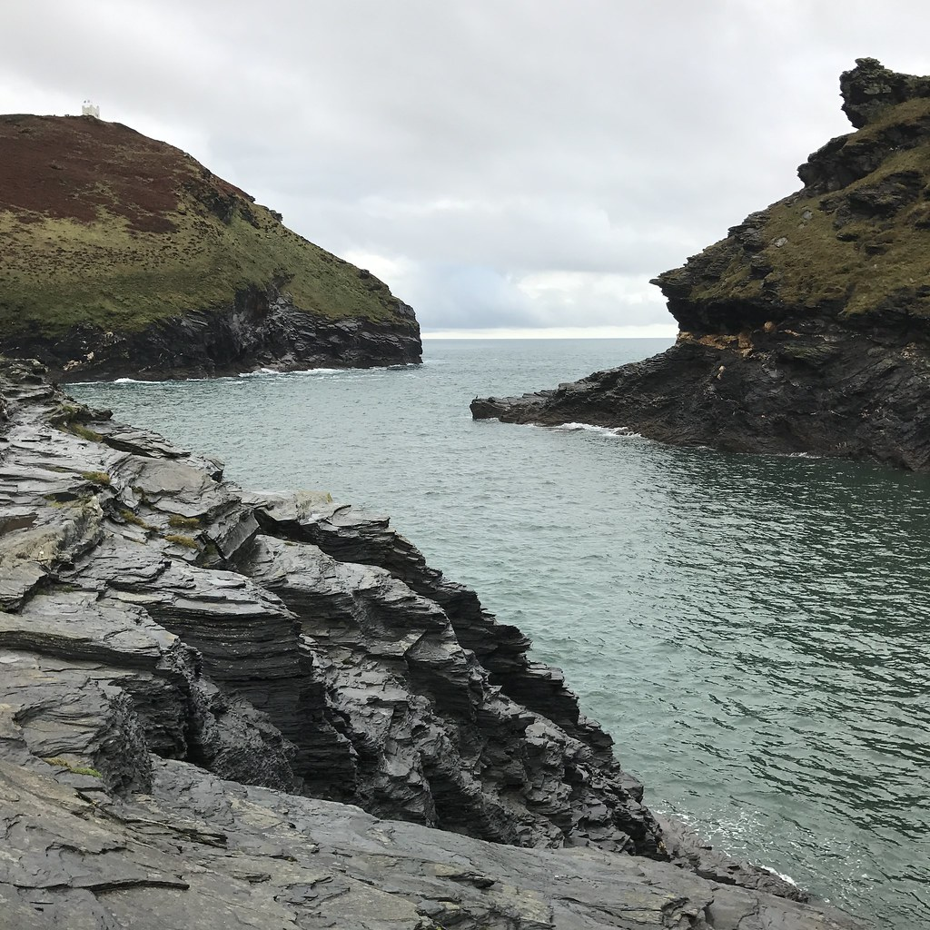 View to Willapark lookout from Boscastle Harbour, Cornwall
