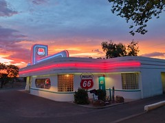 Route 66 Diner - iPhone (Jim Nix / Nomadic Pursuits) Tags: iphone snapseed travel sunset diner route66diner route66 neon americana albuquerque newmexico nm