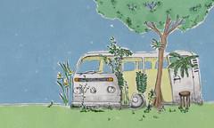 Angela Bacon. A kombi que virou jardim (2011). Desenho em nanquim e coloração digital
