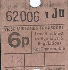 West Midlands Transport 6p Bus Ticket (Bell Punch) (Ray's Photo Collection) Tags: scan scanned document bus travel ticket westmidlands transport buses west midlands england bellpunch pte passengertransportexecutive wmpte
