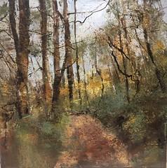 """Joy Beguiles in Autumn"" (www.sandragraham.co.uk) Tags: oilpainting worcestershire shropshire canvas canvasnature sandragraham contemporaryart landscape trees forest edge wenlock"