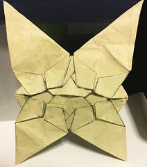 Alternative version (variation) 0.9 of Butterflies meet star tessellations (o'sorigami) Tags: origami complex paper folding paperfolding satoshikamiya satoshi kamiya tessellation tess butterfly art