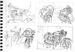 Mécanique, chez Bruno :) (Croctoo) Tags: croctoo croctoofr croquis crayon mécanique poitoucharentes motoancienne