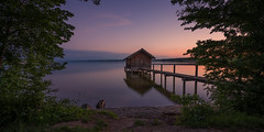 Germany - Boat house (Toon E) Tags: 2017 germany bavaria ammersee stegen boathouse lake sunset reflection sony 7rm2 zeiss sonyfe1635mmf4