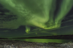 September Night (Mathieu Dumond) Tags: inexplore canada arctic nunavut kugluktuk september fall night coppermineriver reflection northernlights aurora borealis sky tundra mathieudumond umingmakproductions canon 5dmkiii