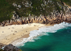 Porthcurno Beach (hunblende) Tags: cornwall england beach sandybeach sea seashore rocks waves green aqua colorful people resting restingpeople travel